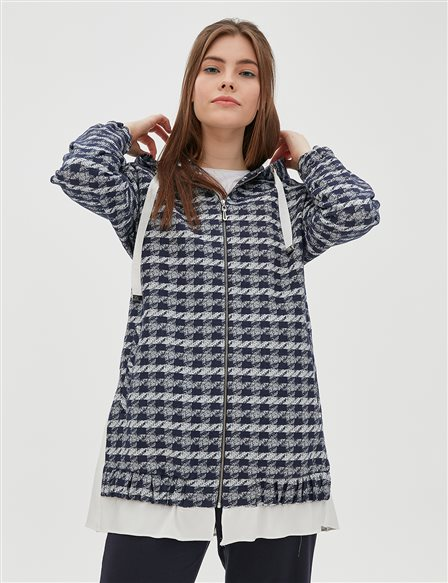 KYR Patterned Jacket With Hood B20 73003 Navy