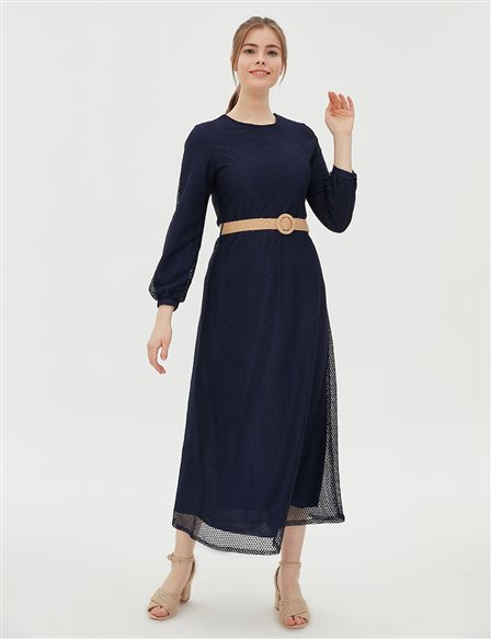KYR Net Dress With Belt B20 83006 Navy
