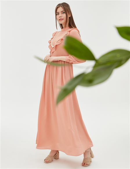 KYR Ruffle Detailed Dress B20 83012 Salmon