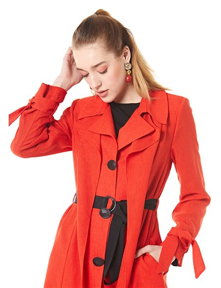 Trenchcoat With Belt B20 14025 Red