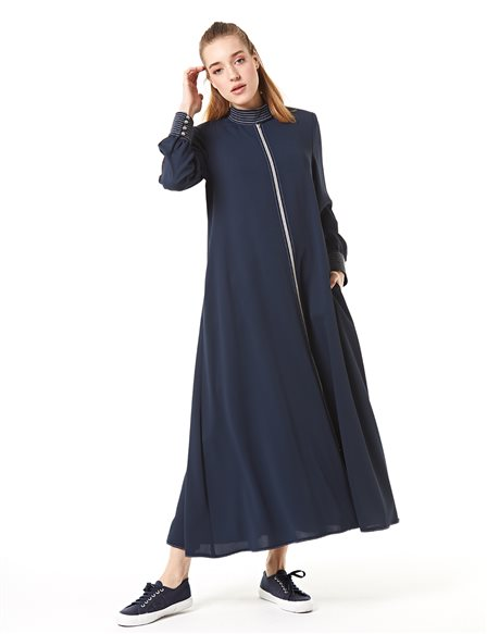 Sleeve Detailed Overcoat B20 25043 Navy