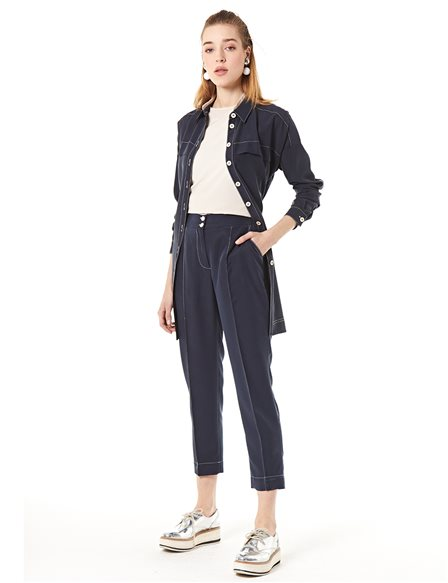 KYR Pants With Double Button Navy B20 79021