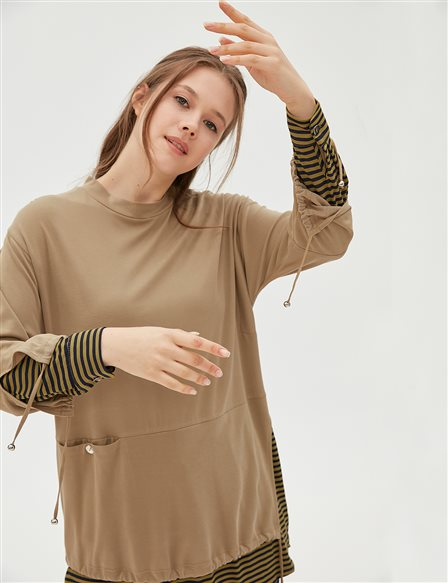 Double Pieced Look Detailed Tunic Khaki B20 21026
