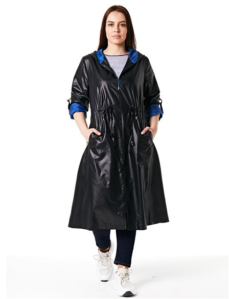 Ruched Trenchcoat Black B20 14015