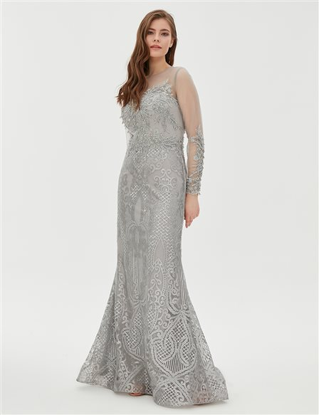 TIARA Organza Detailed Evening Gown B9 26048 Silver