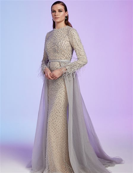 TIARA Chiffon Detailed Evening Gown With Pearl B20 26140 Grey