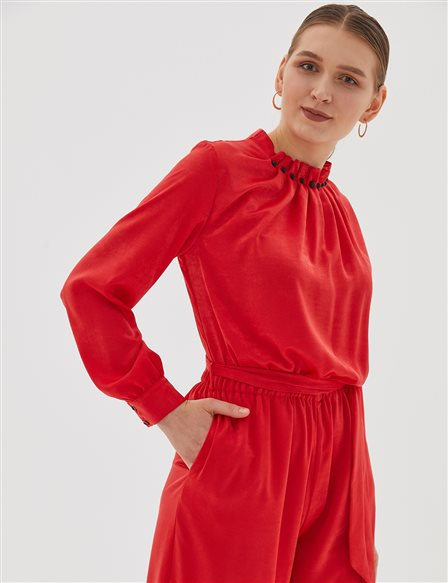 Pleated Collar Jumosuit B20 22005 Red