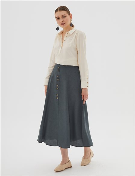 KYR Skirt With Button Details B20 72009 Petrol