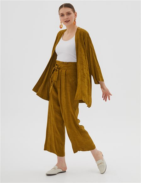 Patterned Oversize Pants B20 19186 Green