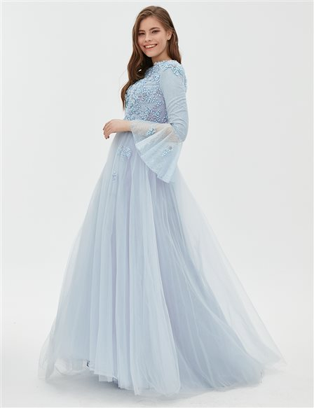 TIARA Embroidered Evening Gown With Tulle B8 26007 Ice Blue