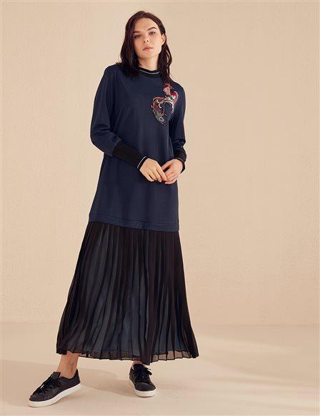 Embroidered Pleated Dress B20 23033 Navy