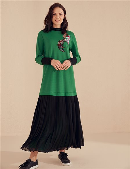 Embroidered Pleated Dress B20 23033 Green