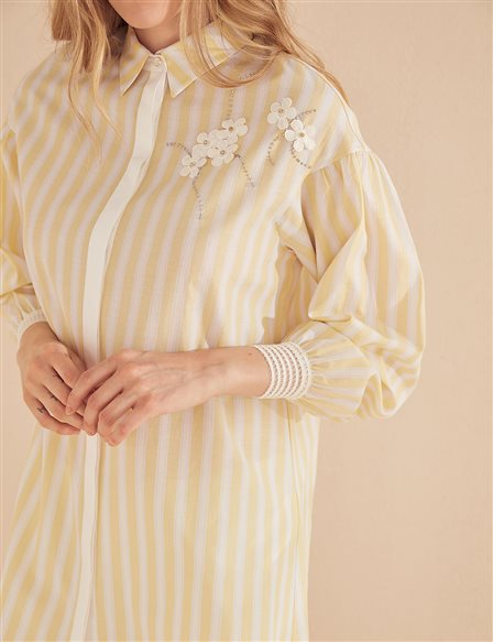 KYR Striped Tunic With Flower Details B20 81338 Yellow