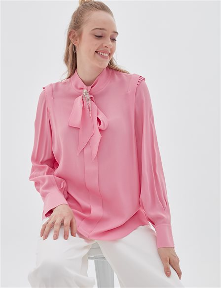 Collar Detailed Chiffon Blouse B20 10094 Pink
