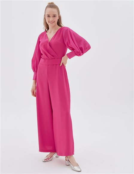 Balloon Sleeve Jumpsuit B20 22013 Fuchsia