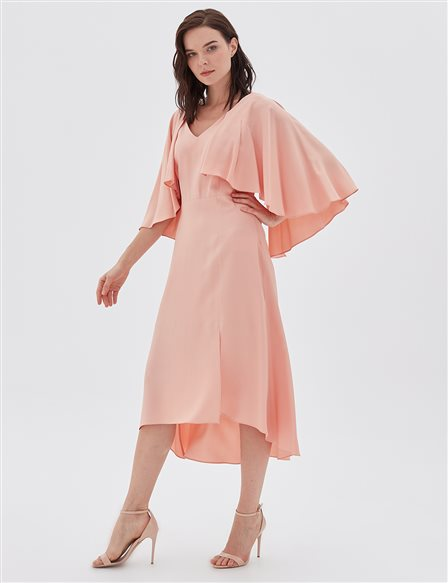 V Collar Midi Dress B20 23018 Light Pink