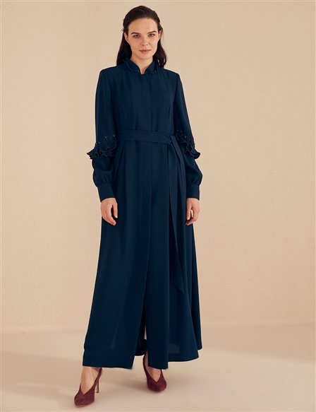 Ruffled Sleeve Overcoat B20 15035 Navy