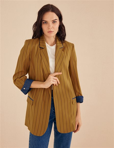 KYR Striped Blazer Jacket B20 73007 Olive