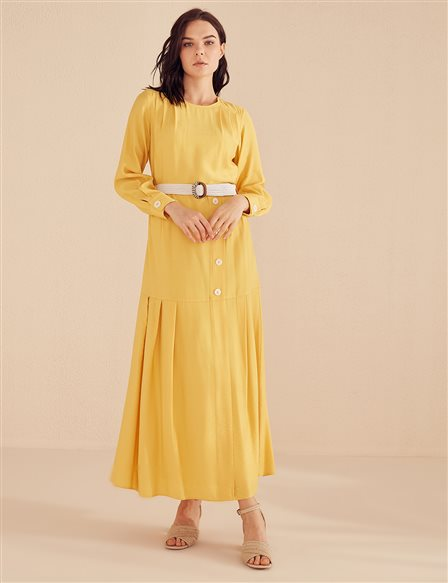 Pleated Dress B20 23071 Yellow