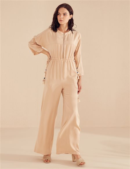 Ruched Jumpsuit B20 22002 Beige