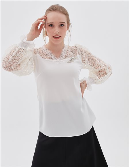 Lace Sleeve Blouse A20 10010 Ecru