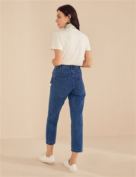 Basic Mom Jeans Indigo A20 19007