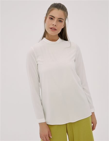 Basic Stand Collar Blouse White SZ-10500
