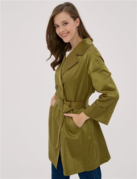 Double Breasted Short Trench Coat Olive A20 14030