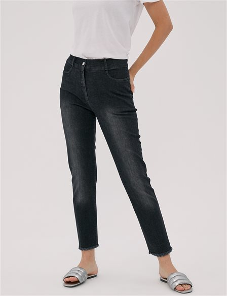 Tasseled, Skinny Denim Trousers Black A20 19101