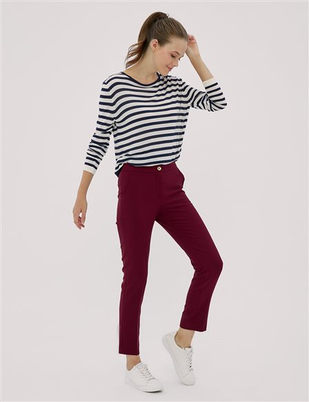 KYR Slim Fit Klasik Pantolon Bordo A20 79552