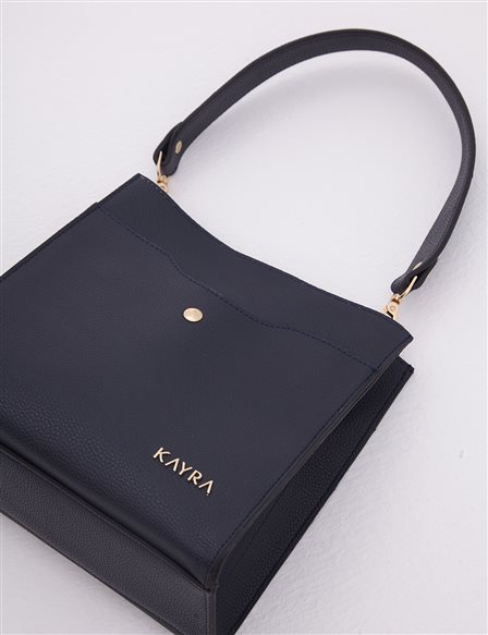 Faux Leather Bag With Two Segment Navy A20 CNT18