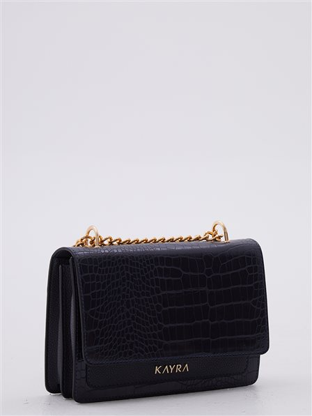 Croco Pattern Rectangle Bag Navy A20 CNT31