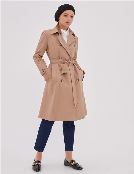 Bone Button Double Breasted Trench Coat Beige A20 14023