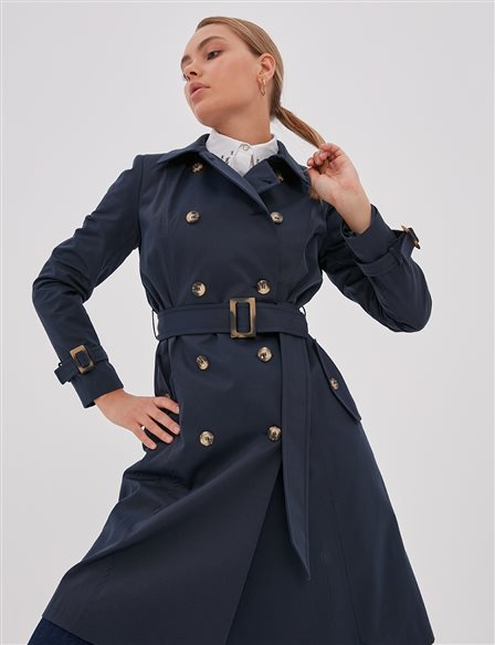 Bone Button Double Breasted Trench Coat Navy A20 14023