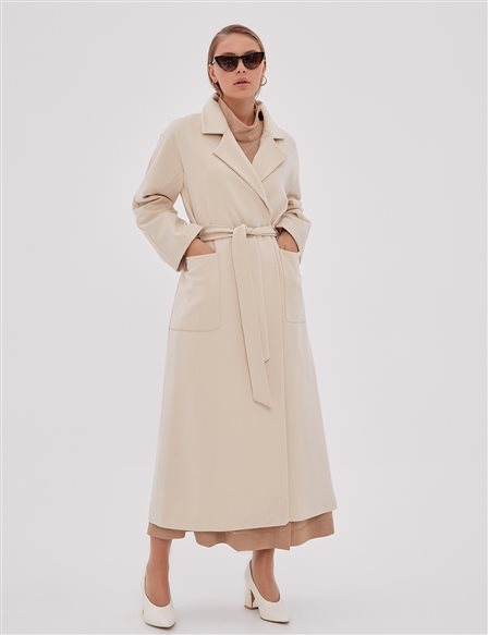 Double Breasted Coat With Belt Cream A20 17003