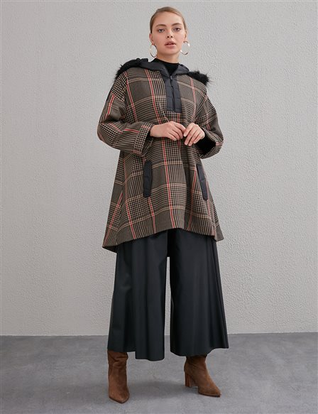 Goose Foot Pattern Hooded Coat Black A20 30001