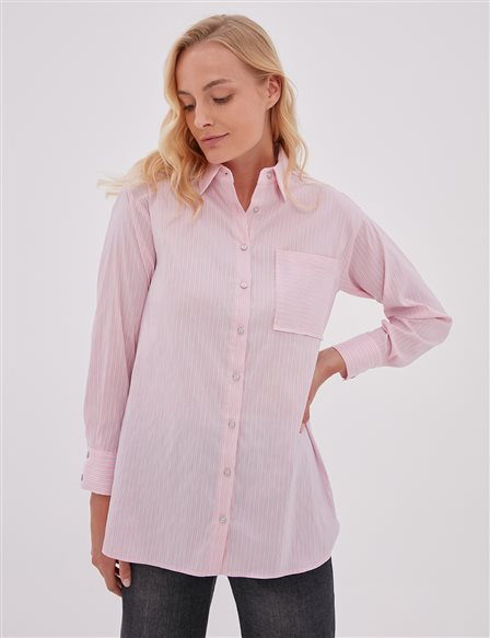 KYR Striped Shirt with Pocket Pink A20 71503