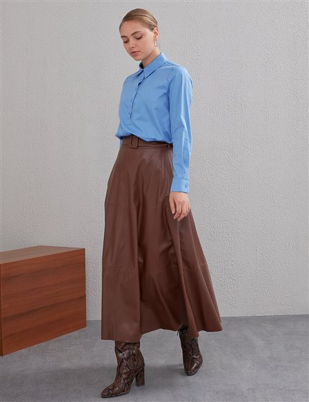 High Waist Faux Leather Skirt Brown A20 12010