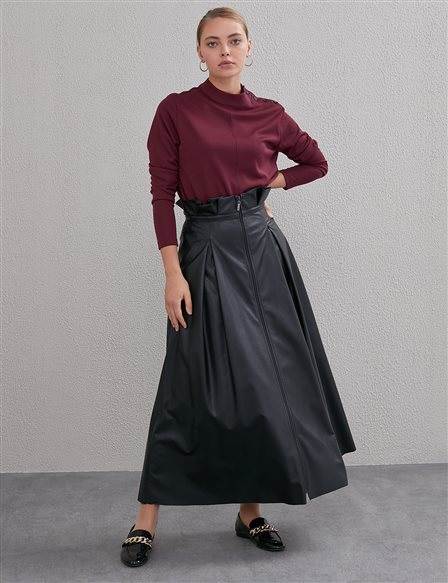 High Waist Paperbag Maxi Skirt A20 12034