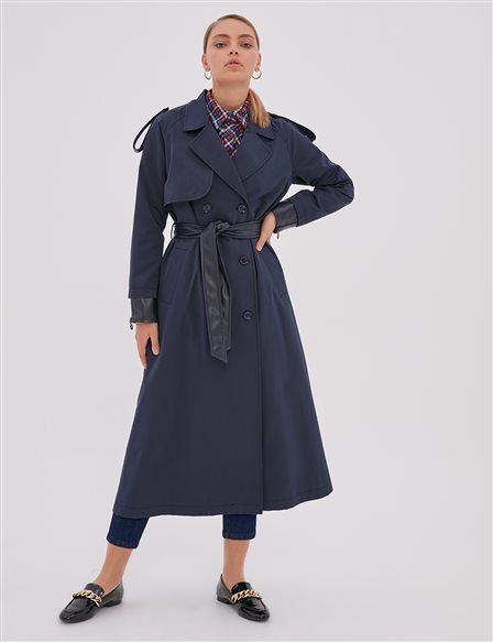 Epaulet Double Breasted Trench Coat Navy A20 14007