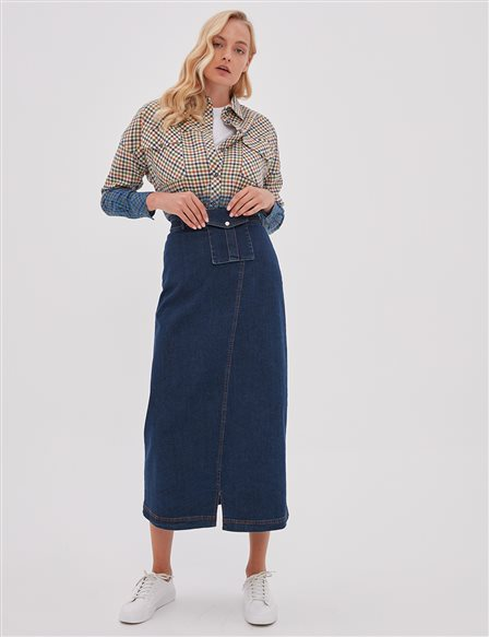 KYR Denim Skirt With Belt Pocket Navy A20 72003