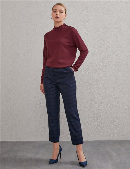 KYR Double Leg Plaid Trousers Navy A20 79005