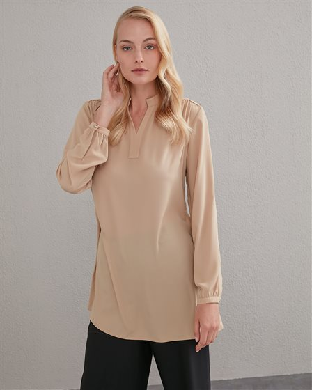 Metal Detailed Judge Collar Blouse A20 70001 Beige