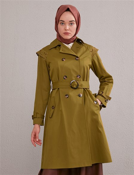 Shoulder Scalloped Trench Coat A20 14019 Olive