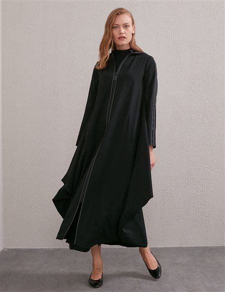 Contrast Stitching Hooded Trench Coat Black A20 25090