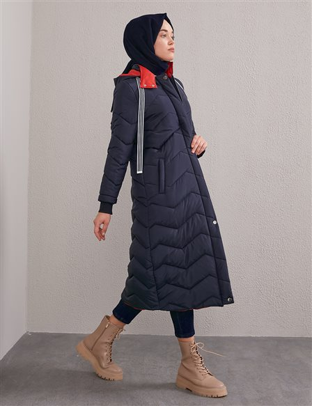 Zigzag Patterned Quilted Anorak A20 27100 Navy