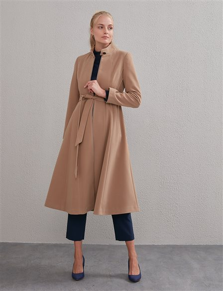 Zippered Coat With Belt Beige A20 17005