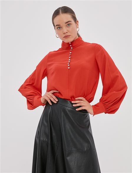 Balloon Sleeve High Neck Blouse Red A20 10107