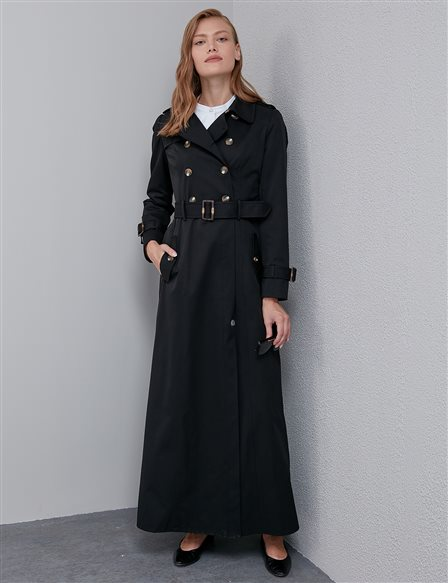 Double Breasted Buttoned Overcoat Black A20 15008