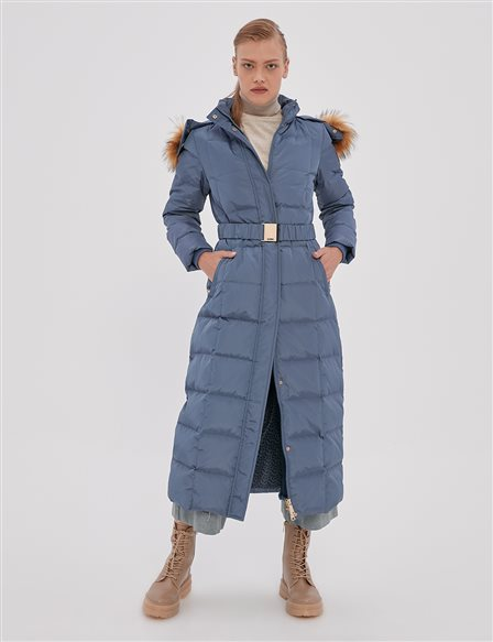 Long Goose Down Coat With Fur Belt and Quilted A20 27007 Indigo